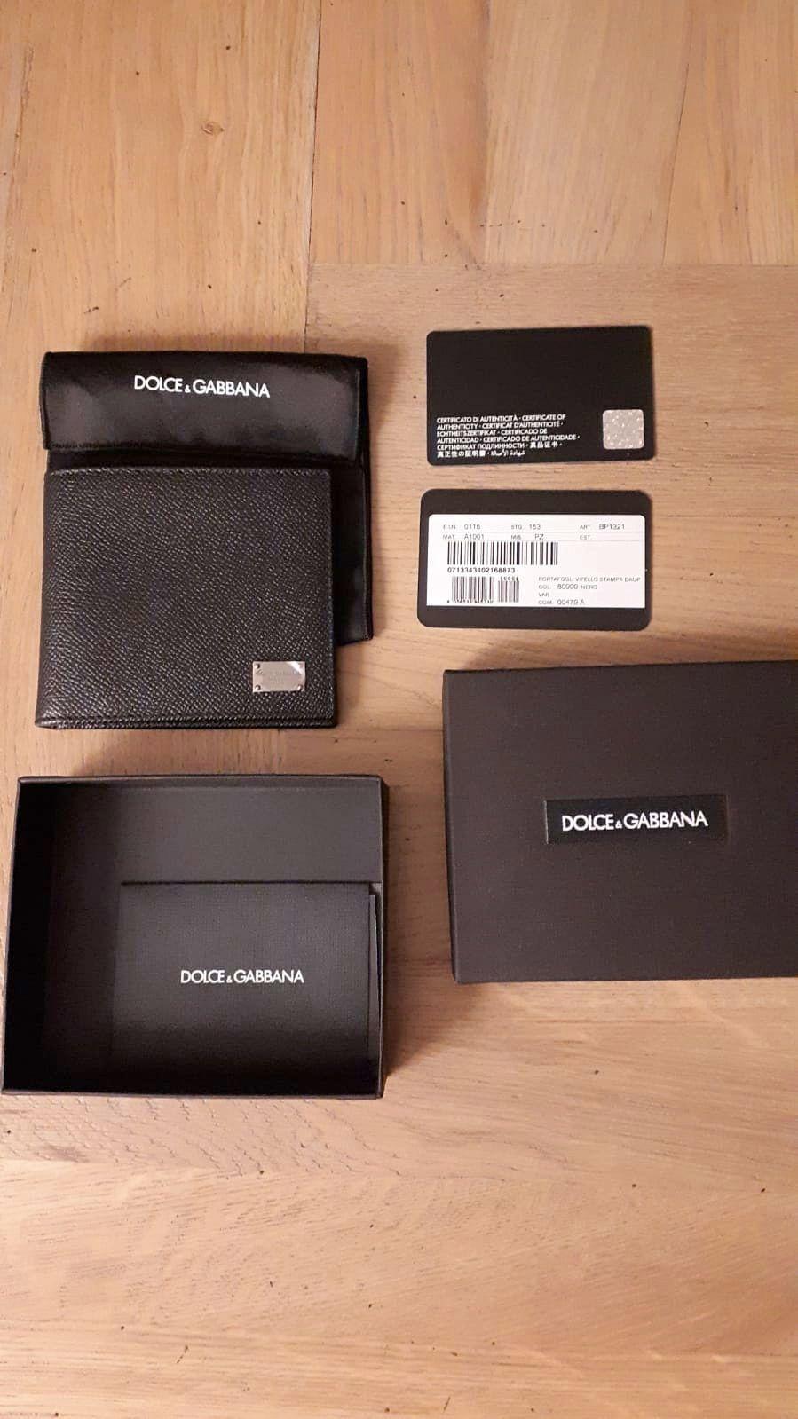 Portefeuille en cuir grainé noir Dolce&Gabbana