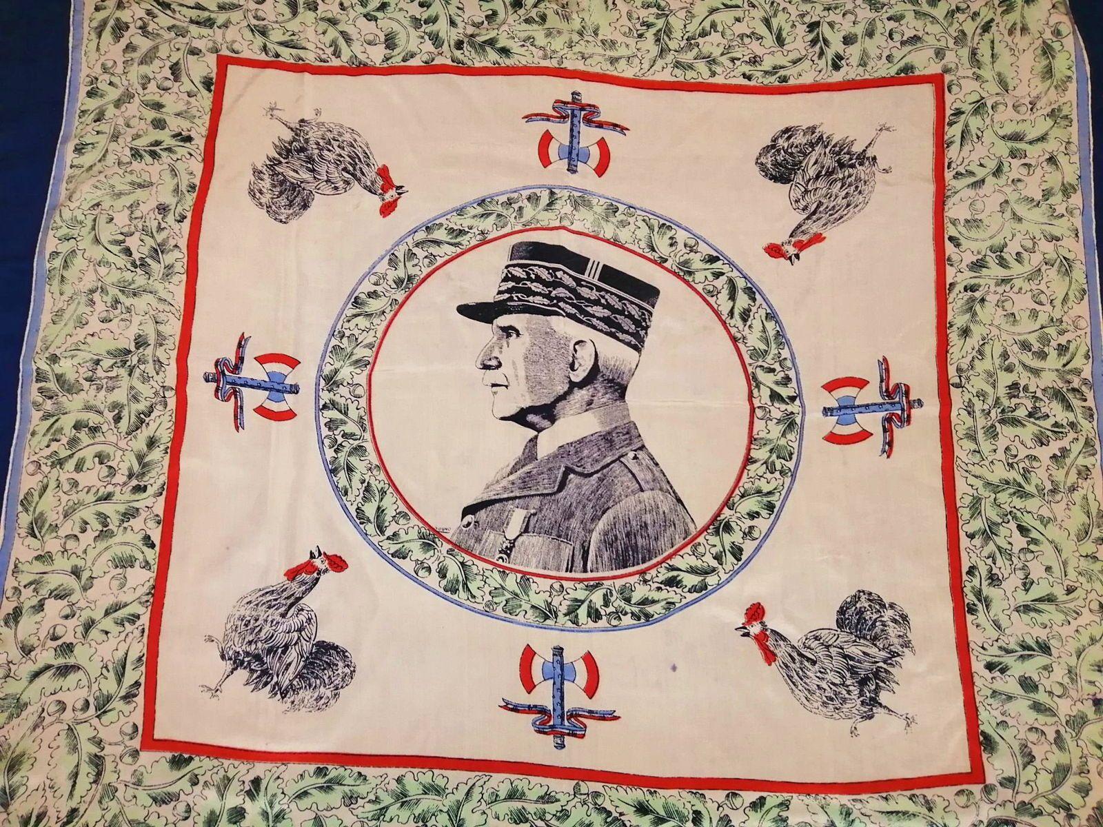 Portrait du Maréchal Pétain sur carré de soie