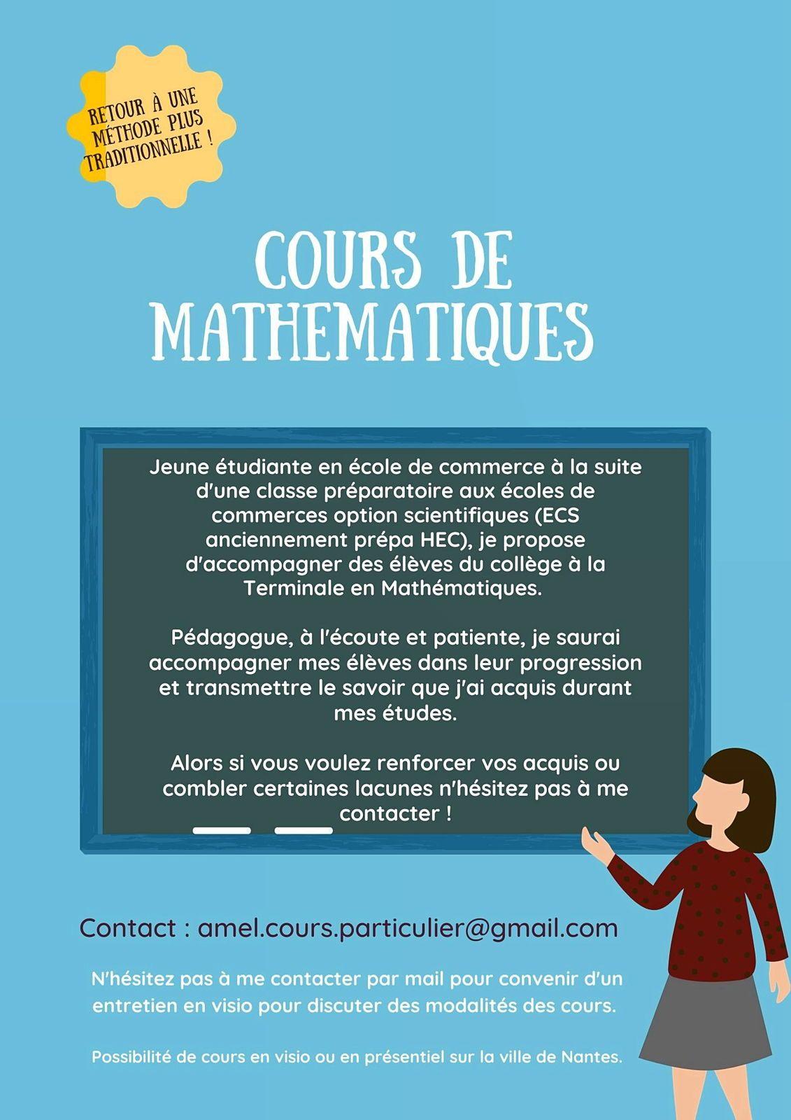 Propose cours de maths et aide aux devoirs du collège à la Terminale