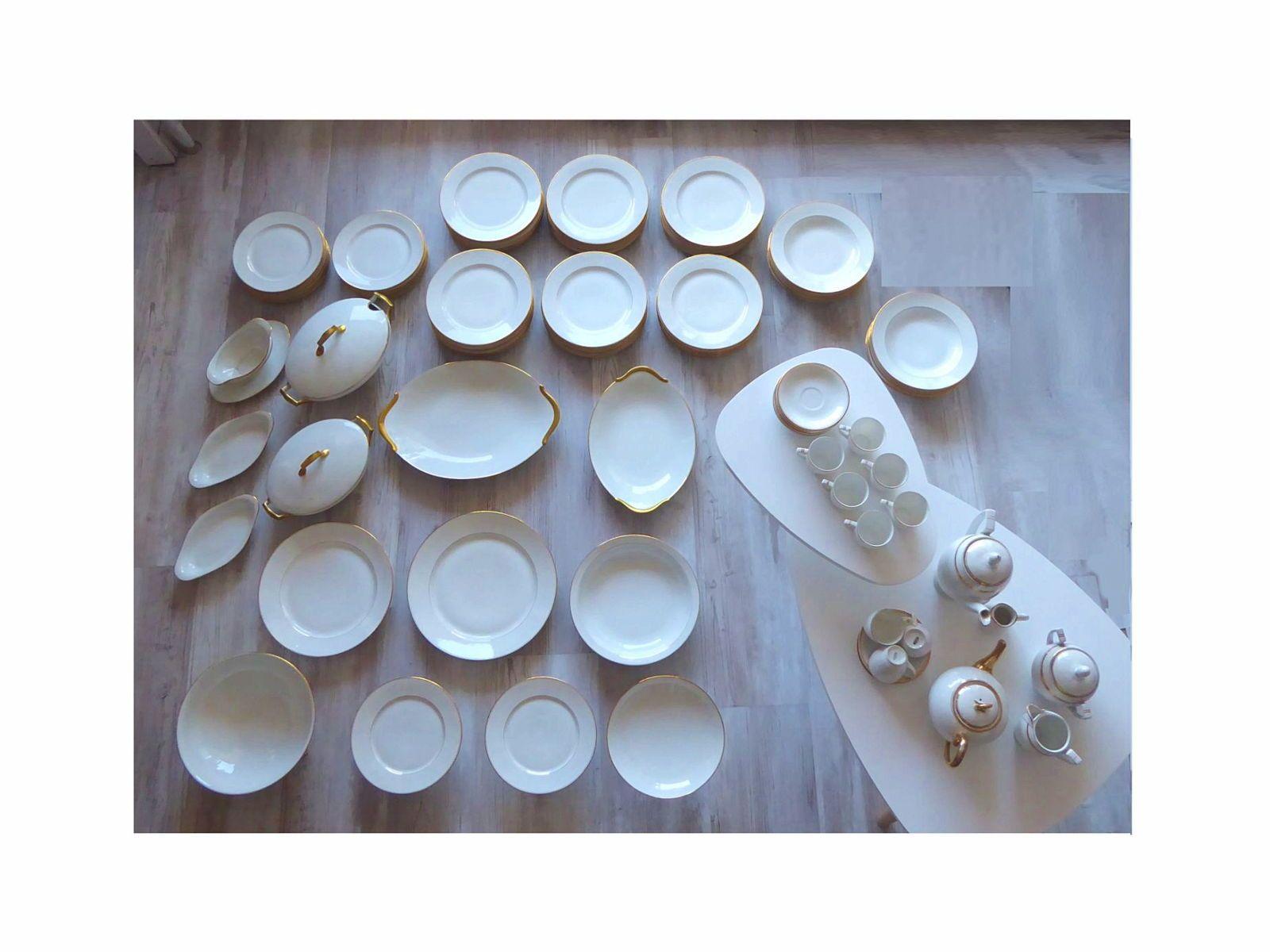 Service vaisselle Années 1920(céramique blanche et or)