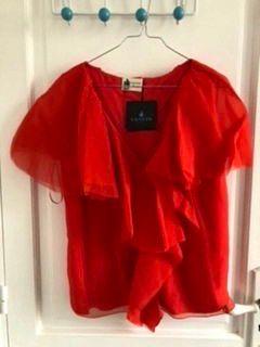 Vends Haut soirée rouge Lanvin 100% soie taille 38