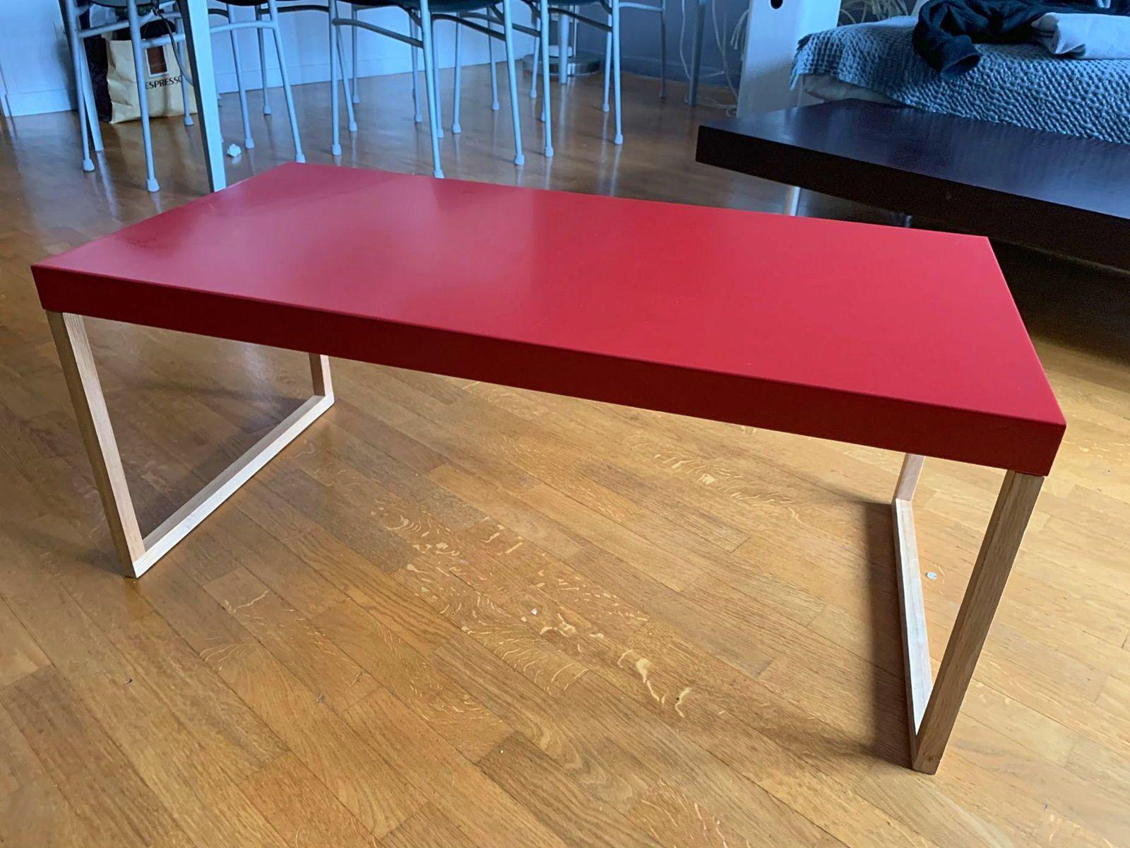 Table basse rouge bois et métal