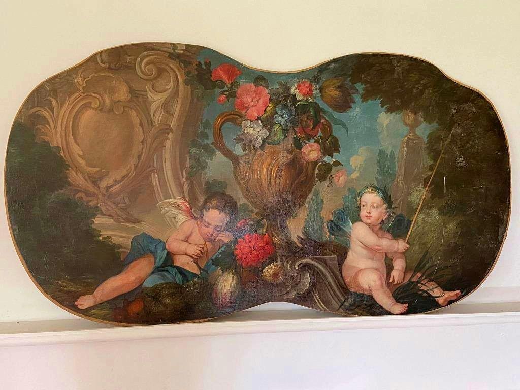 Très beau tableau XVIIIème Putti à l'antique époque Louis XV