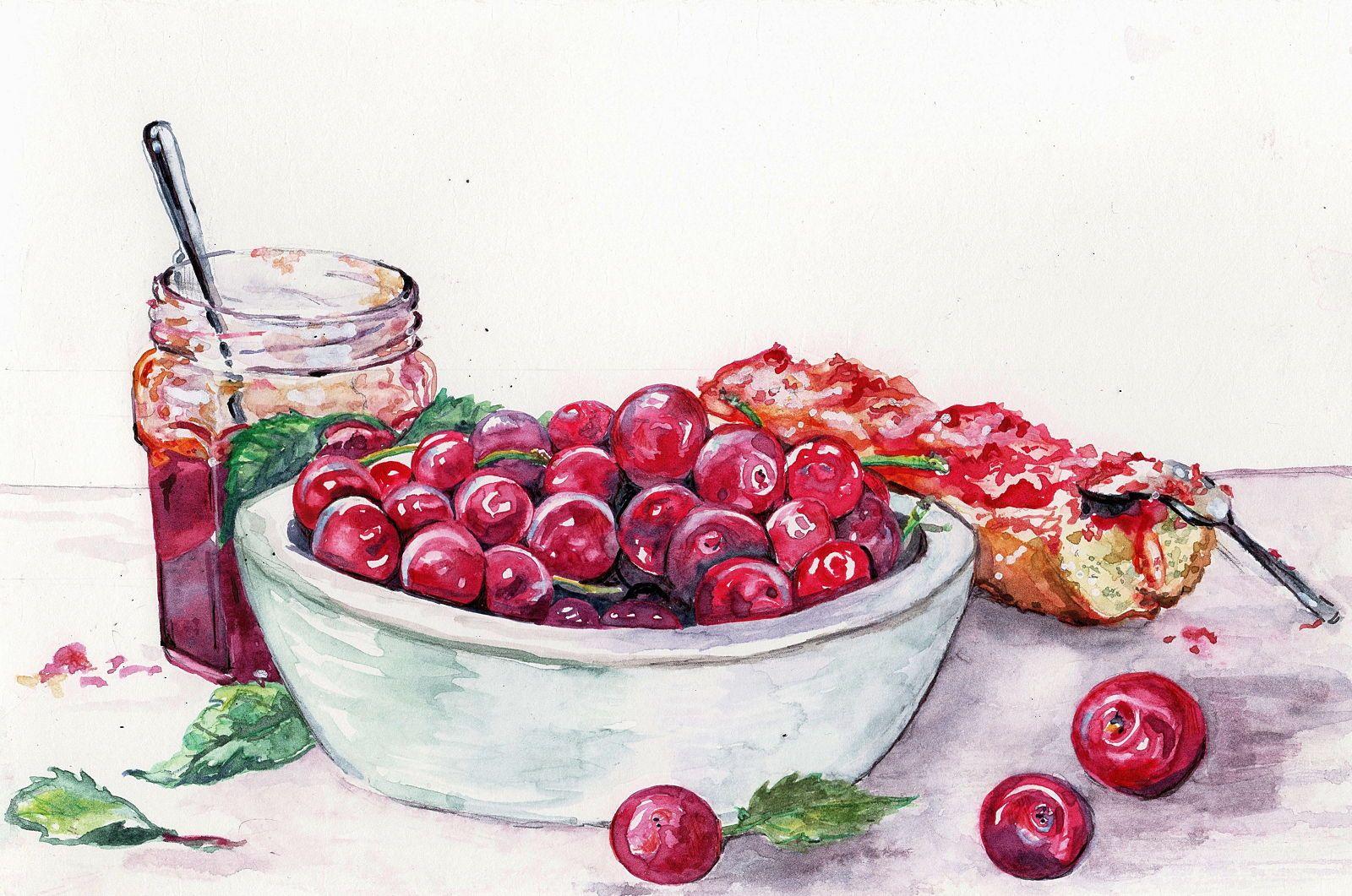 Vends aquarelle, bol de cerises, pour sous-verre