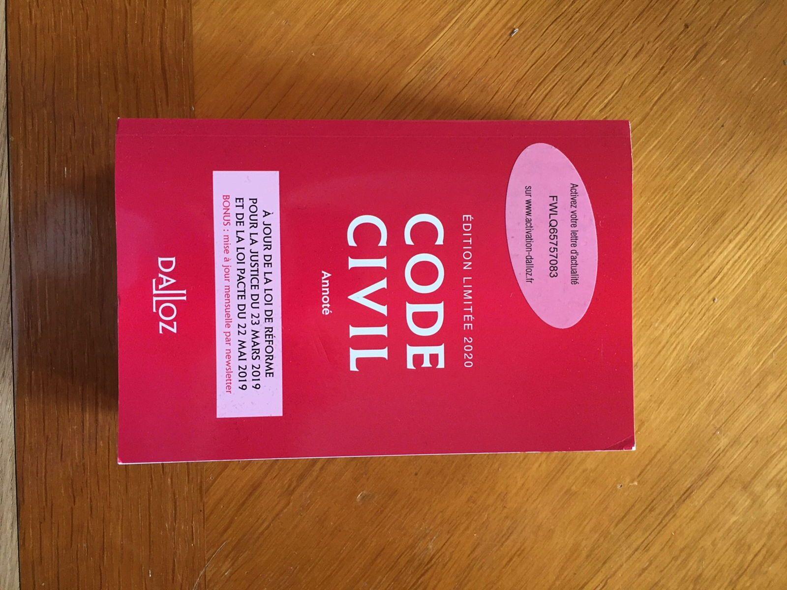 Vends code civil 2020
