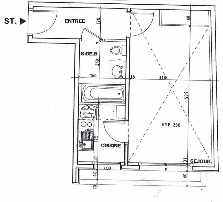 Vends grand studio de 31m² à Levallois-Perret (92) Louise Michel