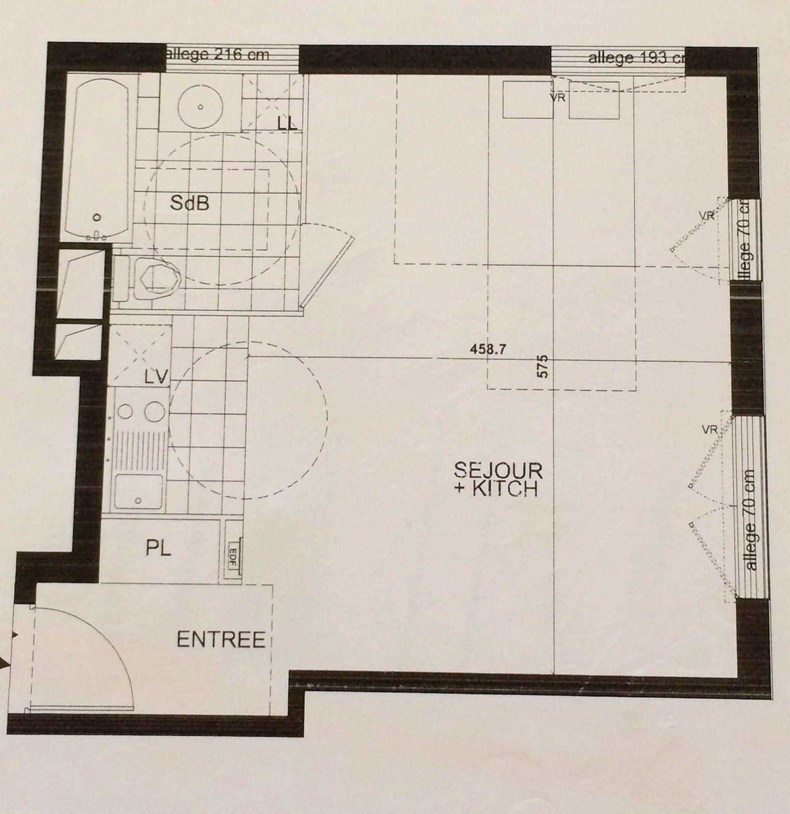 Vends grand studio 36m² Paris 17ème