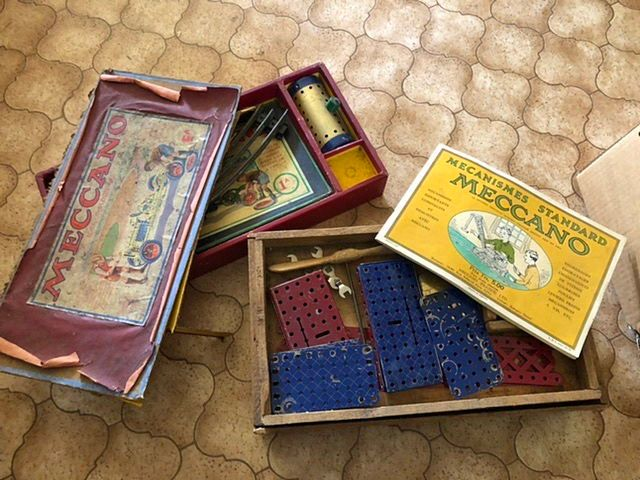 Vends jouets anciens cubes bois et meccano