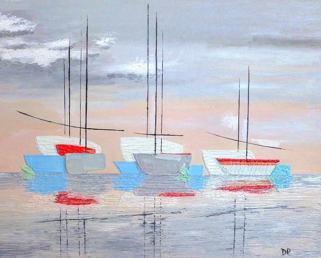 Vends peinture d'origine huile Les P'tits bateaux
