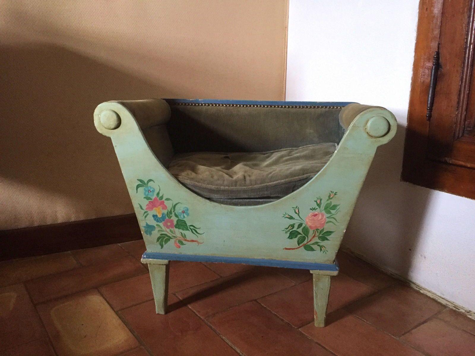 Vends petit siège en bois peint inspiration Napoléon III