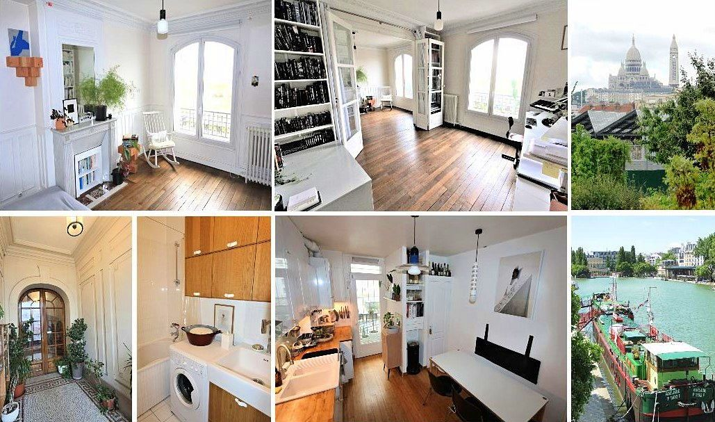 Vends beau 3pièces ancien de 80m² avec 2chambres et vue dégagée - Paris 19ème