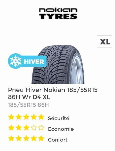 Vends 4pneus hiver Nokian 185x55R15état neuf