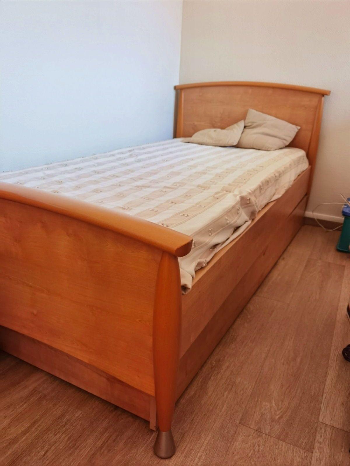 Vends lit simple avec 2e lit tiroir - bois